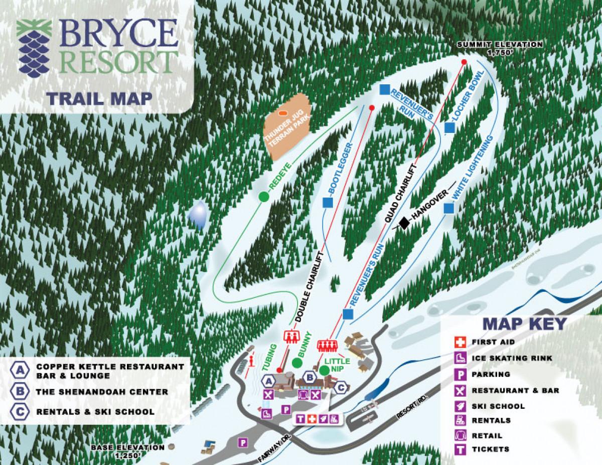 Mountain Maps at Bryce Resort